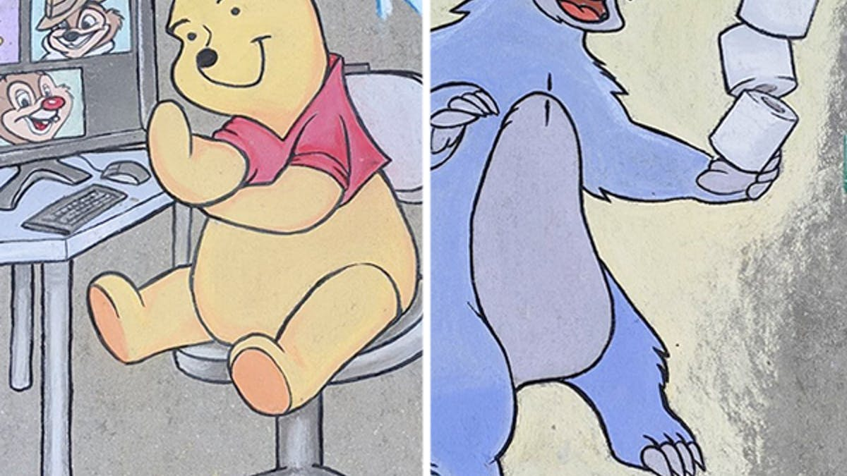 confinement dessins craie trottoir personnages pop       culture