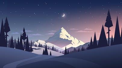Image Lune et paysage enneigé