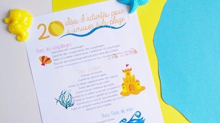 Poster 20 activités pour s'amuser à la plage