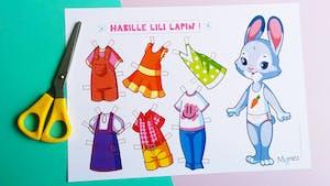 Poupée en papier à habiller : Lili Lapin