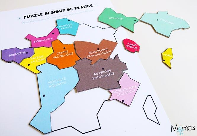 Carte des régions de France à imprimer en Puzzle !   MOMES.net