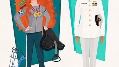 princesses disney jobs métiers matt burt       illustrations