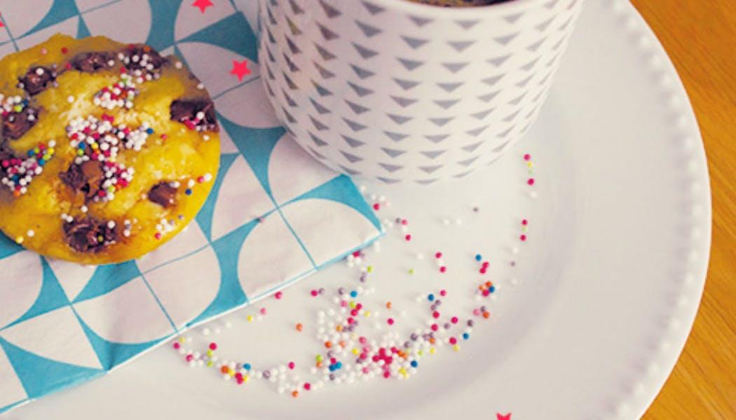 Recette : mug Cookie aux pépites de chocolat au       lait
