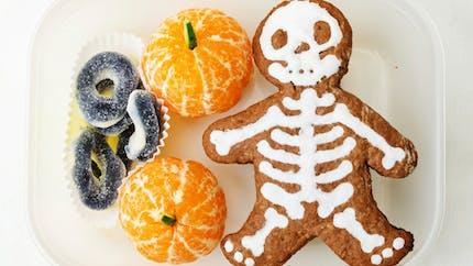 Bento goûter d'Halloween squelette