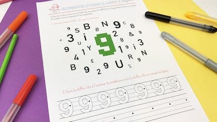 Reconnaître et écrire le chiffre 9
