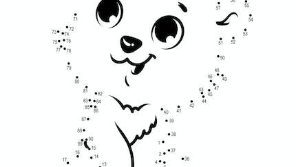 Relier les points : L'ourson - 1 à 90