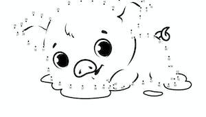 Relier les points : le cochon - de 1 à 57