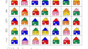Repérage sur un quadrillage : les maisons (exercice)