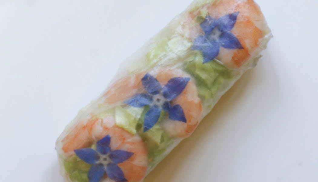 Rouleau de printemps aux crevettes et aux fleurs de       bourrache