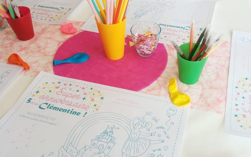Set de table anniversaire à colorier Princesse Fée