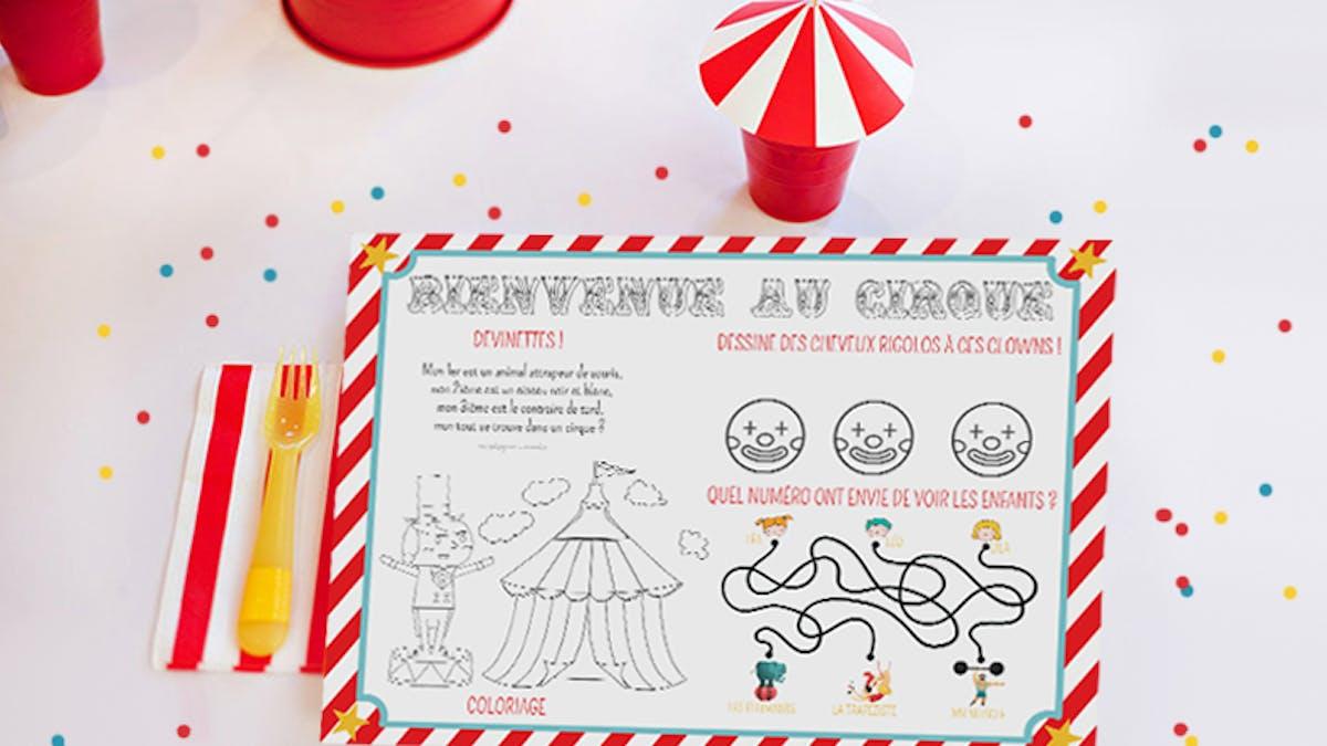 Set de table Anniversaire cirque à colorier