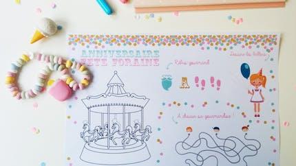Set de table anniversaire fête à foraine à imprimer