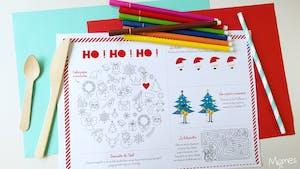 Set de table de Noël à imprimer et colorier