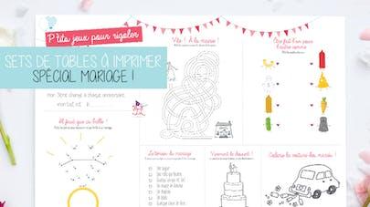 set de table mariage à imprimer