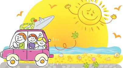dessin enfant qui sourit dans la voiture
