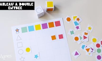 Tableau à double entrée : formes et couleurs