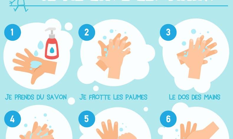 Une affiche pour apprendre à bien se laver les       mains