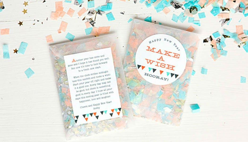 Une carte de vœux avec confettis
