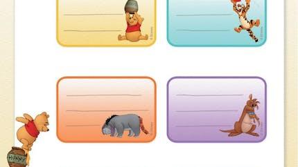 Winnie l'ourson : étiquettes à imprimer