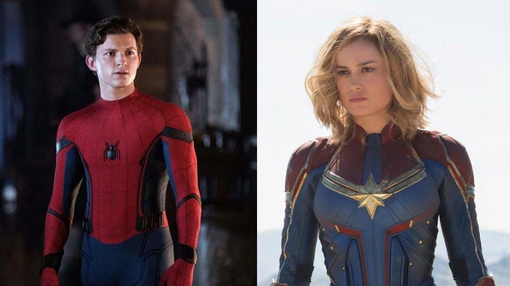 Tom Holland et Brie Larson en costumes de Spider-Man et Captain America