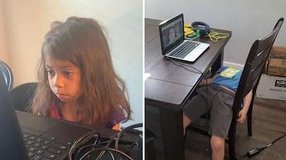 enfants qui s'ennuient devant un cours virtuel sur ordinateur