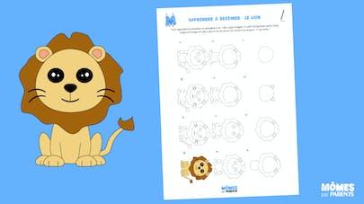Fiche a imprimer pour apprendre à dessiner un lion