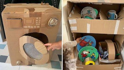Une maman crée des appareils électroménagers en carton pour que ses enfants s'entraînent à les utiliser !