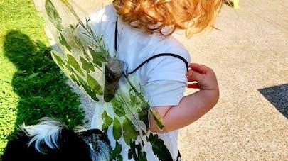 Enfant portant une déguisement papillon fait maison