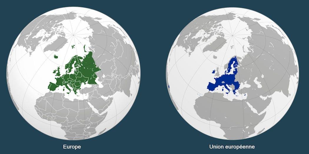 Globes présentant l'Europe et l'Union européenne