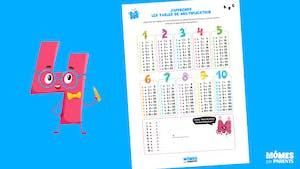 Affiche : J'apprends les tables de multiplication
