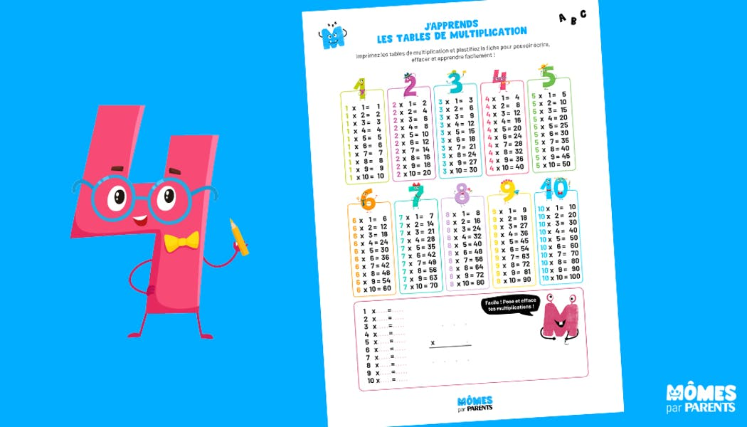 Affiche : J'apprends les tables de multiplication