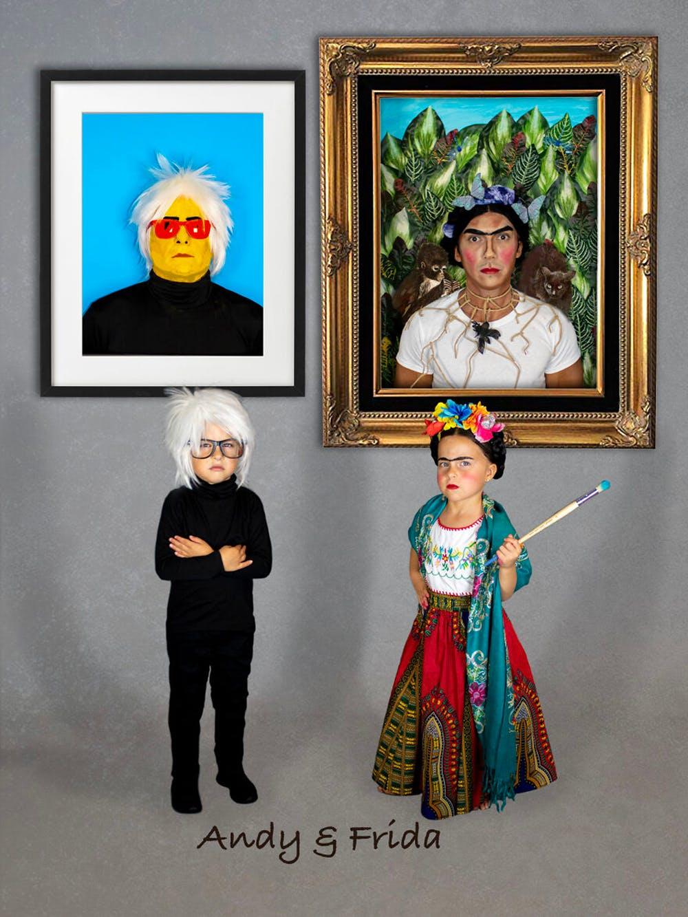 famille championne de déguisements d'Halloween Frida Kahlo et Andy Warhol