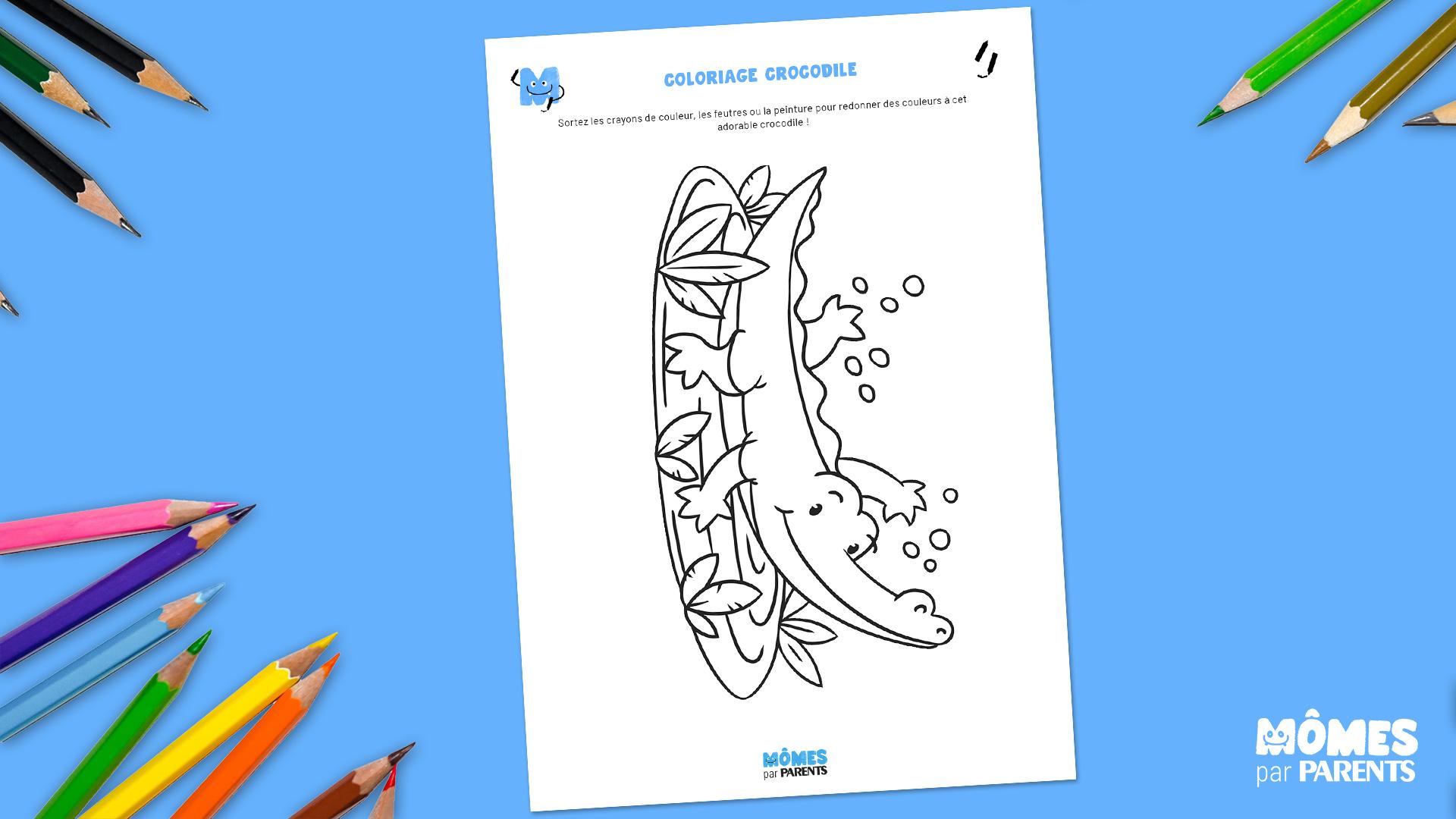Coloriage gratuit Crocodile à imprimer   MOMES.net