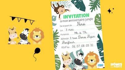 carte d'invitation anniversaire animaux de la jungle