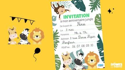 Invitation anniversaire animaux de la jungle