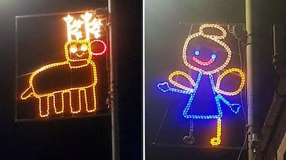 Illuminations de Noël inspirées par les dessins des enfants de Newburgh en Écosse