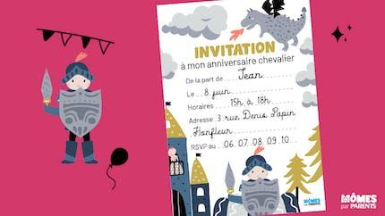 Invitation anniversaire chevalier
