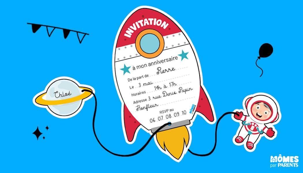 Invitation anniversaire astronaute