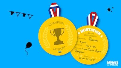 carte d'invitation anniversaire champion de sport