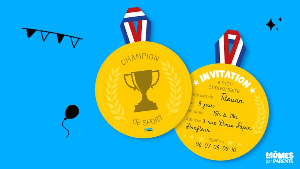 Invitation anniversaire champion de sport