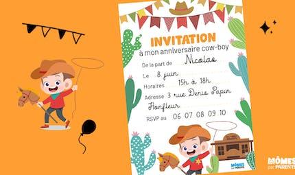 Invitation anniversaire cow-boy
