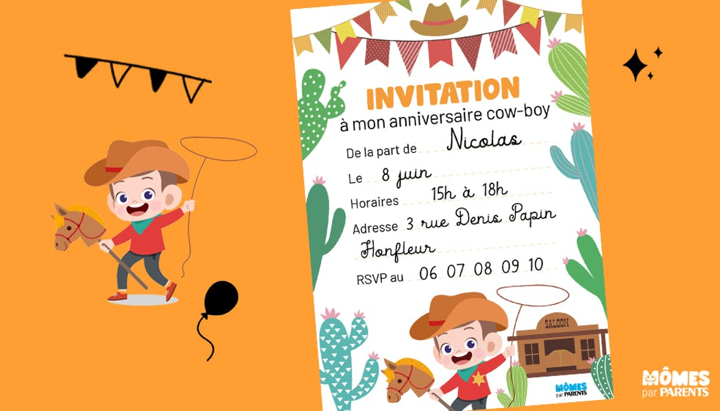 Invitation anniversaire cow-boy