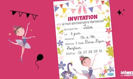 Invitation anniversaire danseuse