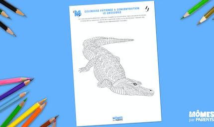 Coloriage patience & concentration : le crocodile