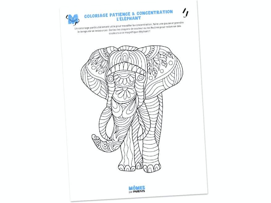 Coloriage patience & concentration : l'éléphant