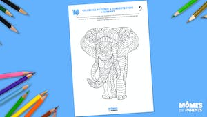 Coloriage patience & concentration : l'éléphant