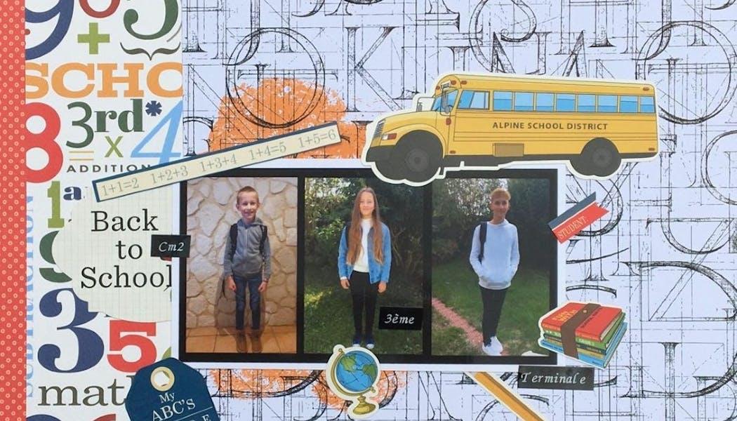 un scrapbooking de la rentrée des classes de 3 enfants