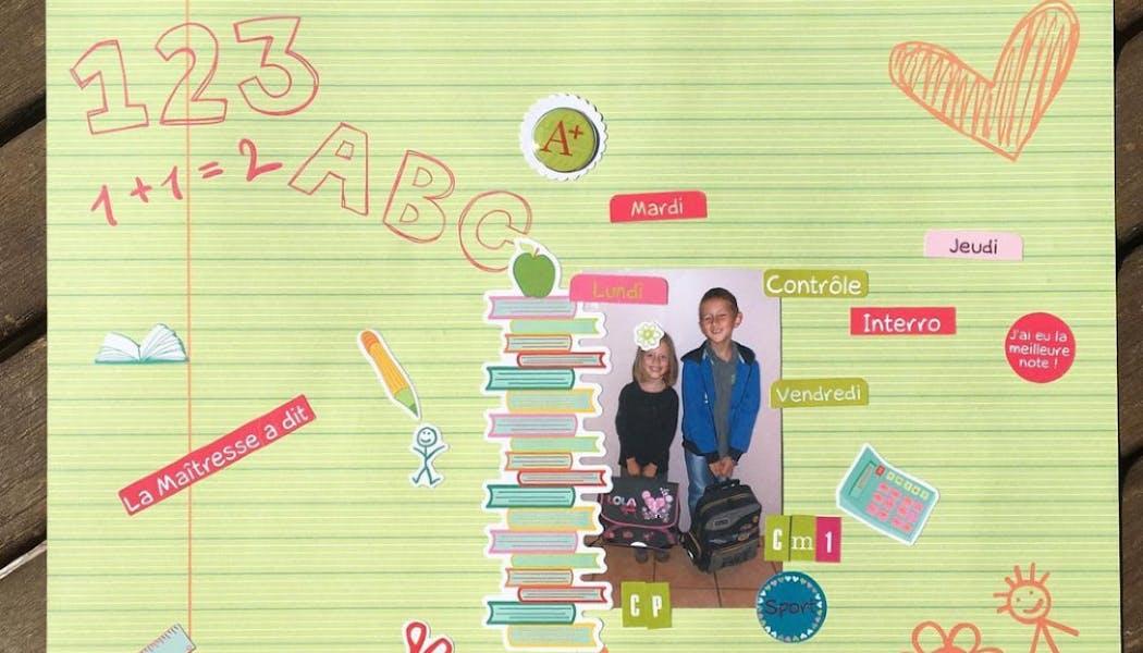 un scrapbooking d'enfants sur l'école