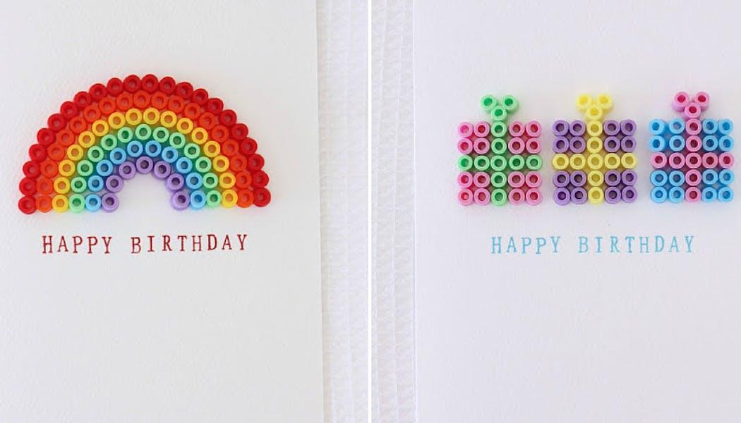 Des cartes d'anniversaire en perles à repasser