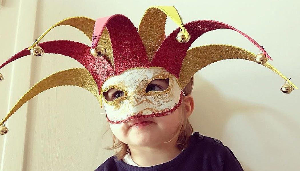 masque vénitien pour enfants avec grelots